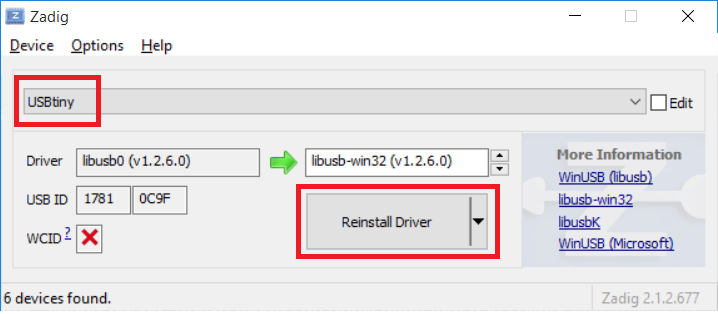 zadig select usbtiny click reinstall driver